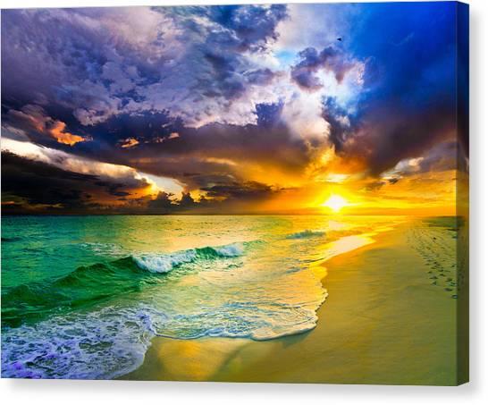 Destin Florida-purple Sunset Over The Beach Art Prints Canvas Print