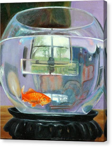 detail fish bowl of Fishing Canvas Print