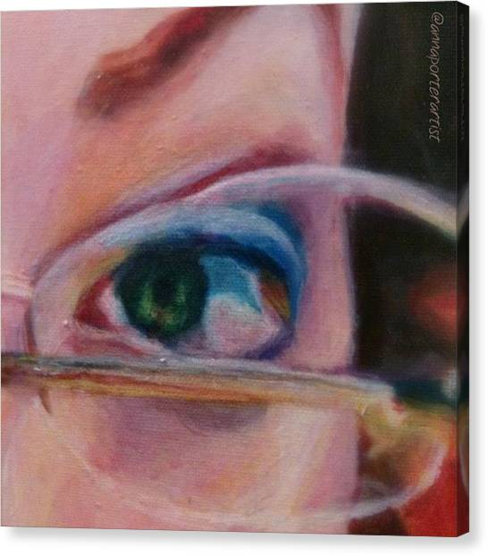 Detail Canvas Print - Detail From Portrait Of Chrissy An Acrylic Painting By Anna Porter Artist by Anna Porter