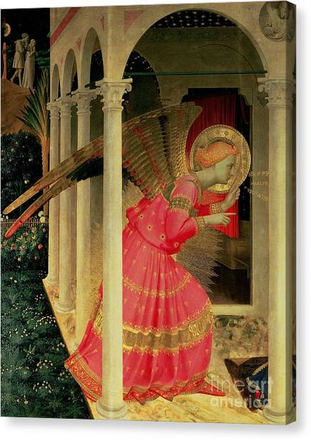 The Annunciation Canvas Print - Detail From The Annunciation Showing The Angel Gabriel by Fra Angelico