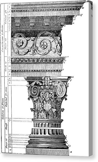 Detail Of A Corinthian Column And Frieze I Canvas Print
