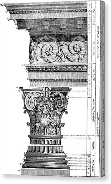 Detail Of A Corinthian Column And Frieze II Canvas Print