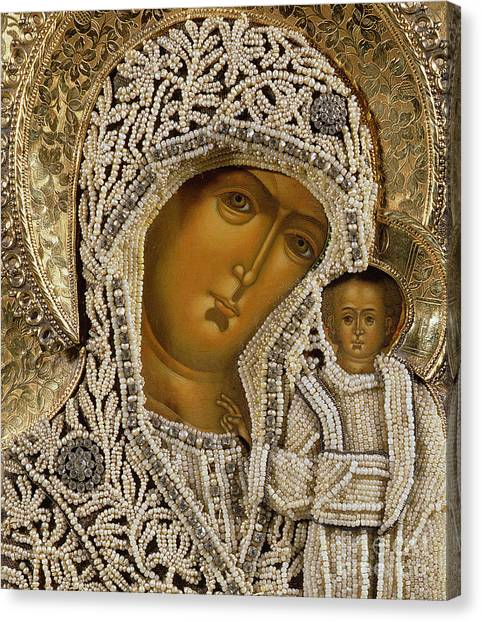 Religious Canvas Print - Detail Of An Icon Showing The Virgin Of Kazan By Yegor Petrov by Russian School