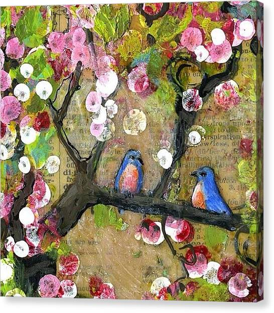 Birds Canvas Print - Detail Of Painting From The Lexicon by Blenda Studio