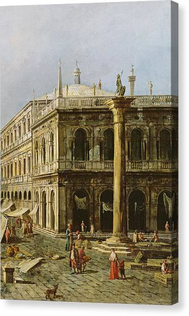 Architectural Detail Canvas Print - Detail Of Palazzo Della Zecca by Michele Marieschi