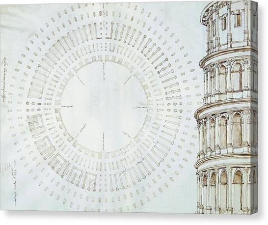 The Colosseum Canvas Print - Detail Of Study With Map And Relief Of Colosseum by Giuliano da Sangallo