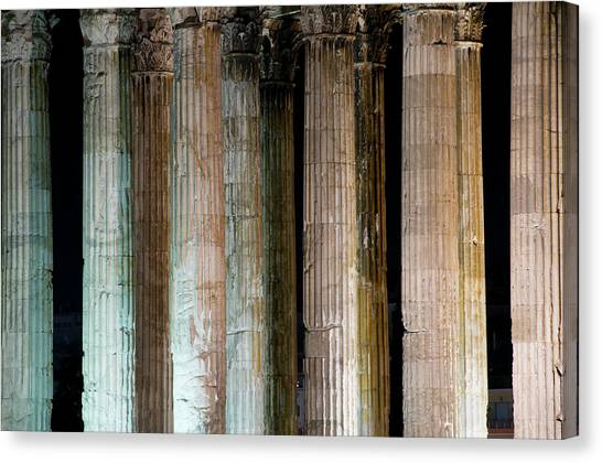 Detail Of Surviving Columns On Temple Canvas Print