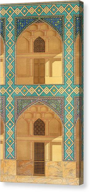 Tile Canvas Print - Detail Of The Courtyard Arcades by Pascal Xavier Coste