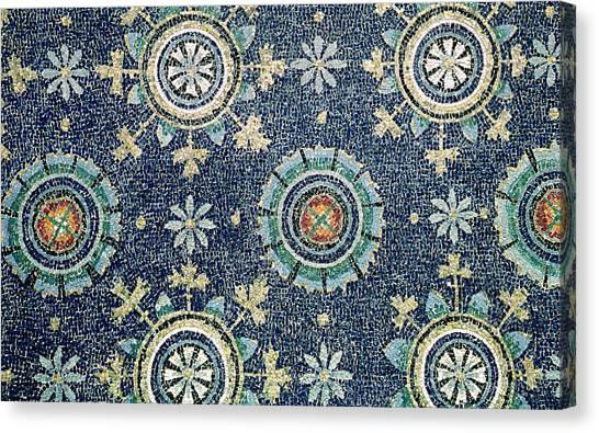 Early Christian Art Canvas Print - Detail Of The Floral Decoration From The Vault Mosaic by Byzantine