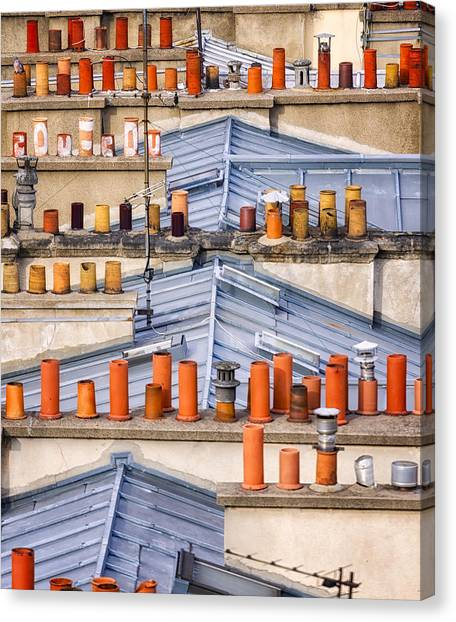 Detail Of Traditional Rooftops In Paris Canvas Print