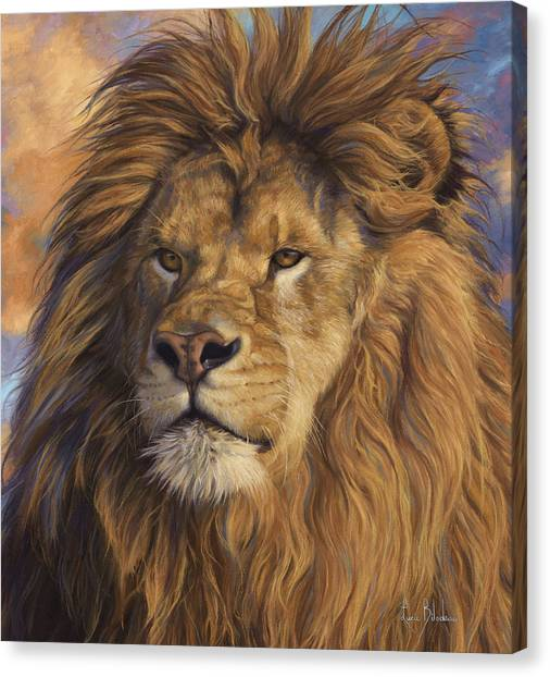 Lions Canvas Print - Watchful Eyes - Detail by Lucie Bilodeau