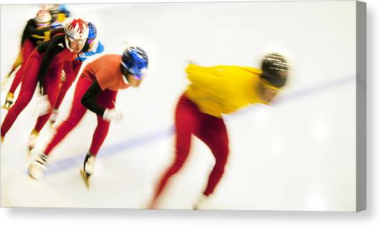 Speed Skating Canvas Print - Determined by Theresa Tahara