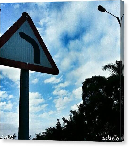 Om Canvas Print - Detour?  #roadsigns #detour #street by Om Bhatia