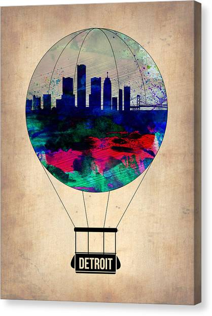 Detroit Canvas Print - Detroit Air Balloon by Naxart Studio