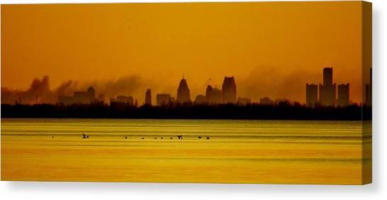 Detroit At Dawn Canvas Print