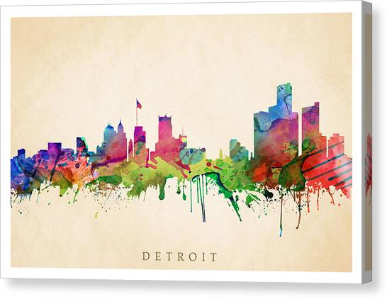 Detroit Cityscape Canvas Print