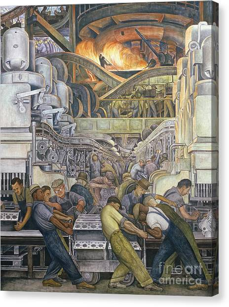 Machinery Canvas Print - Detroit Industry  North Wall by Diego Rivera