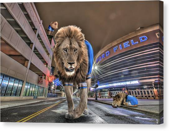Golf Course Canvas Print - Detroit Lions At Ford Field by Nicholas  Grunas