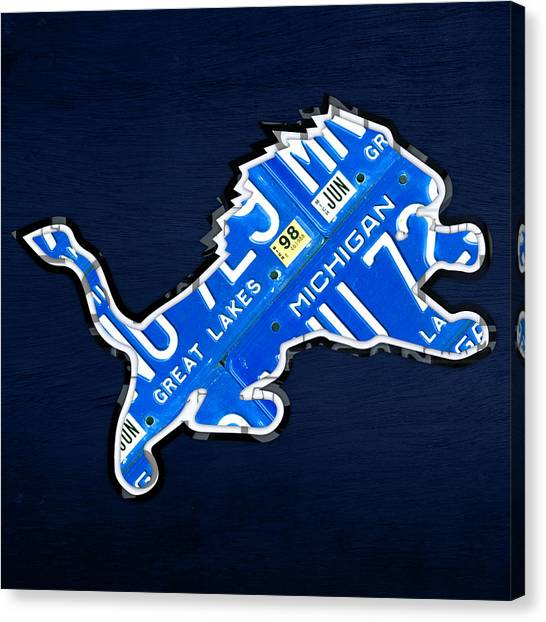 Michigan Canvas Print - Detroit Lions Football Team Retro Logo License Plate Art by Design Turnpike