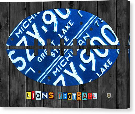 Detroit Lions Canvas Print - Detroit Lions Football Vintage License Plate Art by Design Turnpike