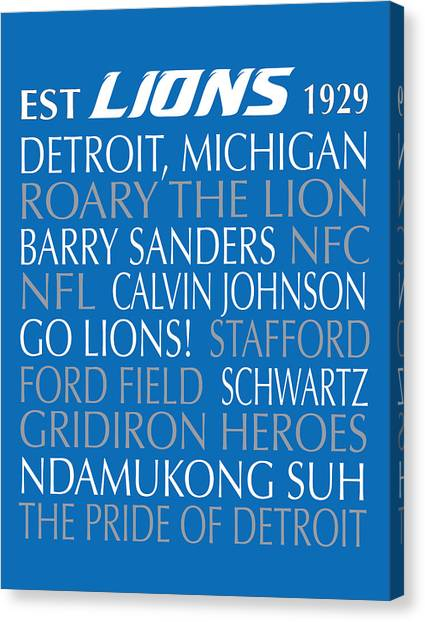 Barry Sanders Canvas Print - Detroit Lions by Jaime Friedman