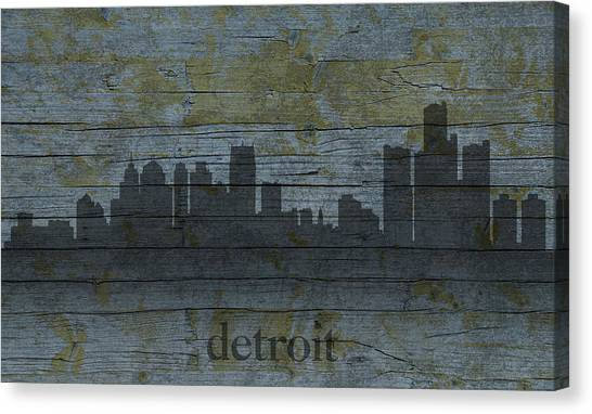 Distressed Canvas Print - Detroit Michigan City Skyline Silhouette Distressed On Worn Peeling Wood by Design Turnpike