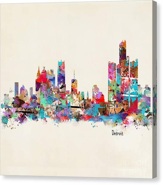 Detroit Michigan Skyline Square Canvas Print
