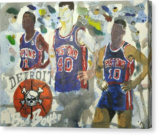 Detroit Pistons Canvas Print - Detroit Pistons Bad Boys  by Tyrone Scott
