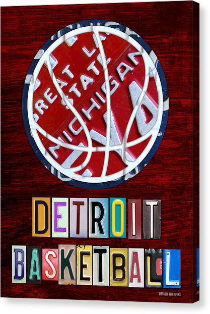 Detroit Pistons Canvas Print - Detroit Pistons Basketball Vintage License Plate Art by Design Turnpike