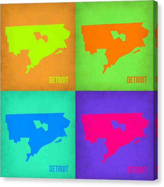 Detroit Canvas Print - Detroit Pop Art Map 1 by Naxart Studio