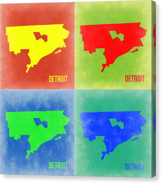 Michigan Canvas Print - Detroit Pop Art Map 2 by Naxart Studio