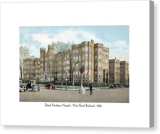 Detroit - Providence Hospital - West Grand Boulevard - 1926 Canvas Print