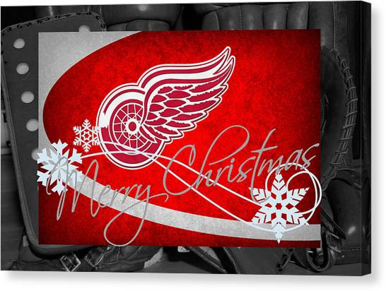 Detroit Red Wings Canvas Print - Detroit Red Wings Christmas by Joe Hamilton