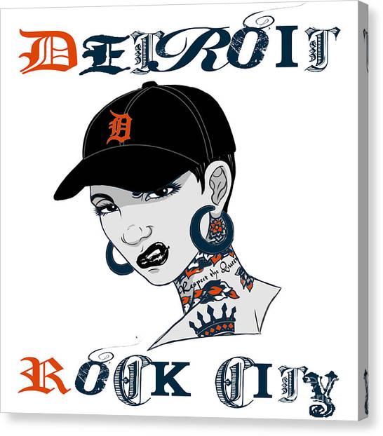 Detroit Tigers Canvas Print - Detroit Rock City  by Respect the Queen