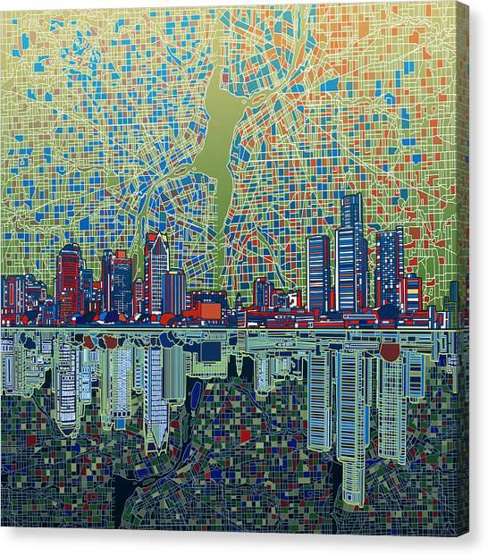 Detroit Skyline Abstract 3 Canvas Print