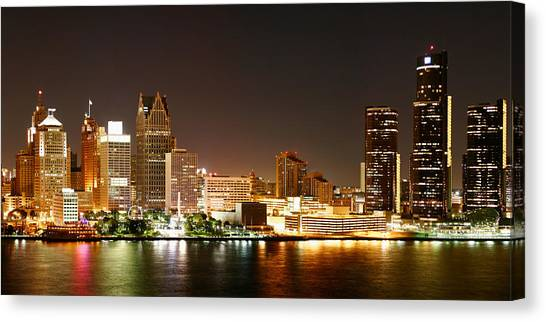 Michigan Canvas Print - Detroit Skyline At Night-color by Levin Rodriguez