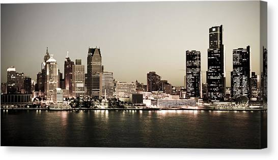 Detroit Skyline At Night Canvas Print