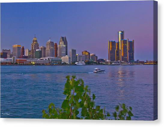Detroit Skyline At Twilite With Boat Canvas Print