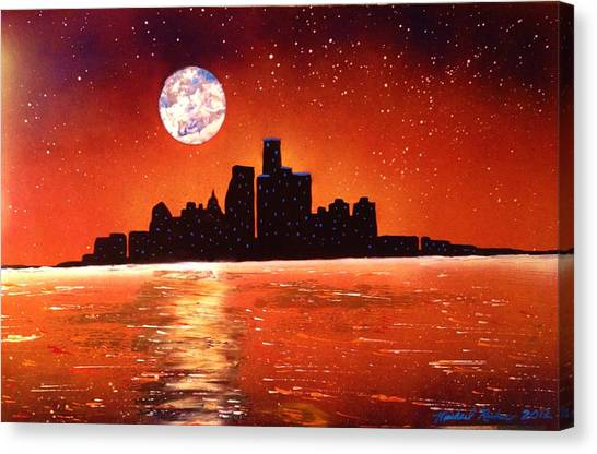 Canvas Print - Detroit Skyline by Michael Rucker