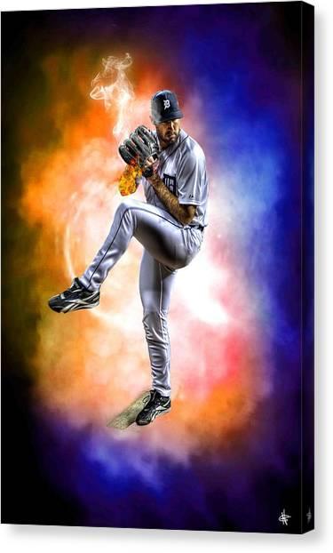 Detroit Tigers Canvas Print - Detroit Tiger Justin Verlander by A And N Art