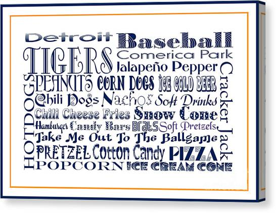 Detroit Tigers Canvas Print - Detroit Tigers Baseball Game Day Food 3 by Andee Design