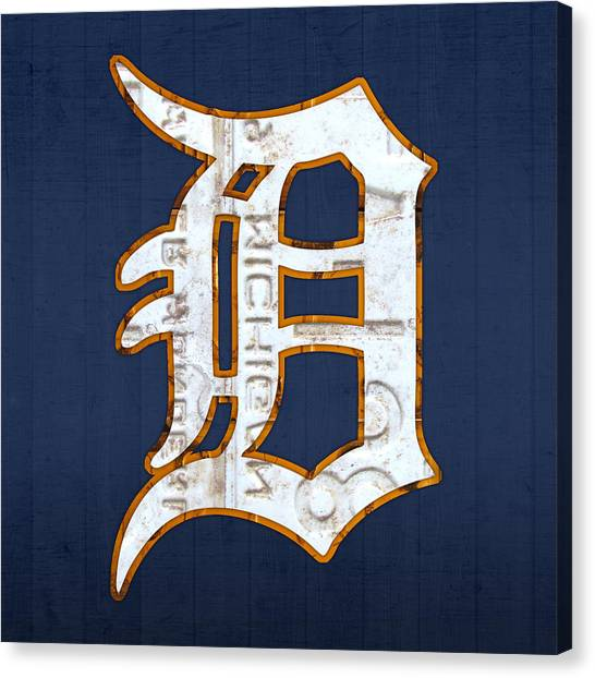 Detroit Canvas Print - Detroit Tigers Baseball Old English D Logo License Plate Art by Design Turnpike