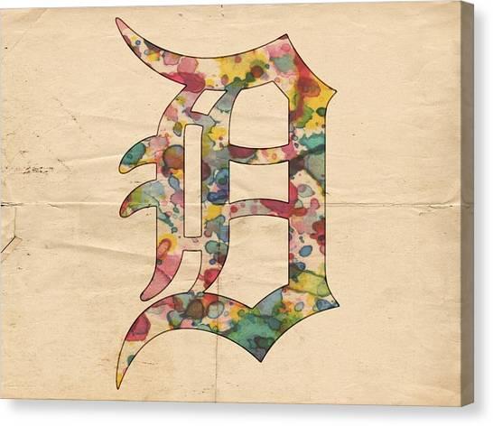Detroit Tigers Canvas Print - Detroit Tigers Logo Vintage by Florian Rodarte