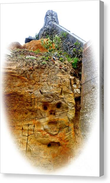 Mountain Caves Canvas Print - Devil Face Carved Into The Mountain At Sutro Baths  Fade Out Version by Jim Fitzpatrick