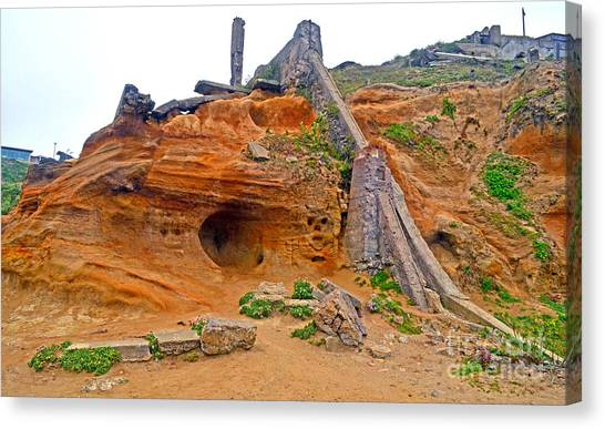 Mountain Caves Canvas Print - Devil Face Carved Into The Mountain At Sutro Baths by Jim Fitzpatrick