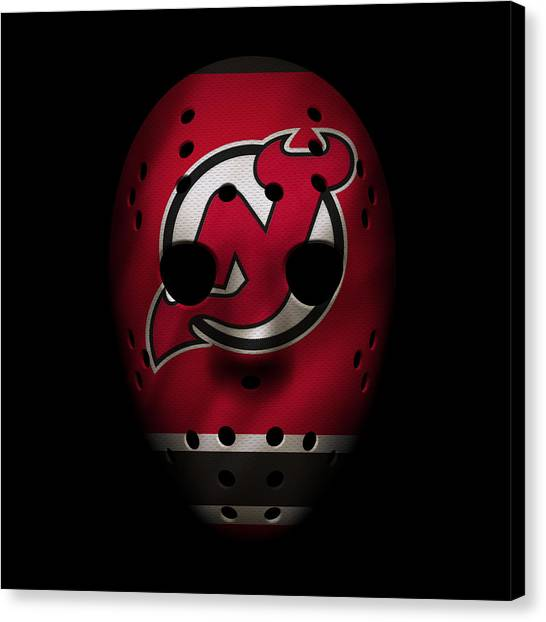 New Jersey Devils Canvas Print - Devils Jersey Mask by Joe Hamilton