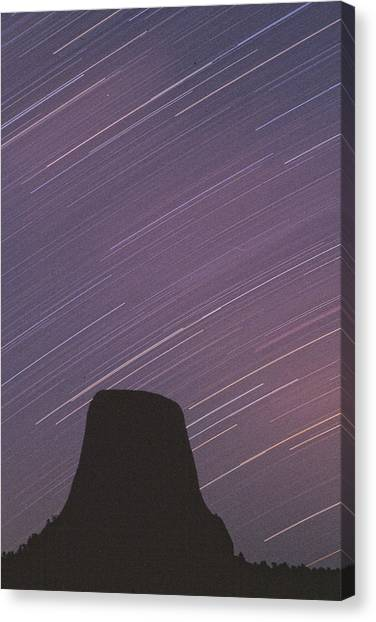 Devils Tower Star Trails Canvas Print