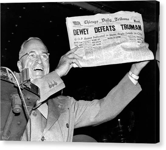 Harry Truman Canvas Print - Dewey Defeats Truman Newspaper by Underwood Archives