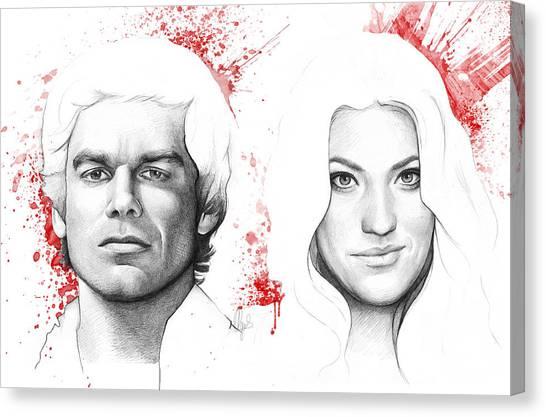 Blood Canvas Print - Dexter And Debra Morgan by Olga Shvartsur