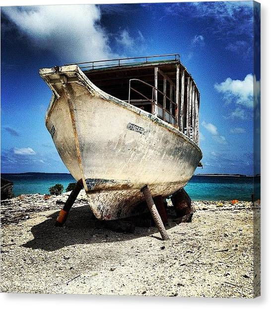 Repairs Canvas Print - Dhoni Out Of The Water #boat  #dhoni by Sam Chamberlain